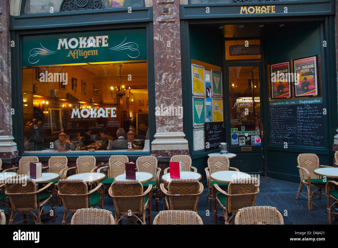 Mokaffe cafe inside Galeries Royales Saint-Hubert or Koninklijke Sint-Hubertusgalerijen shopping arcade Brussels - Stock Image