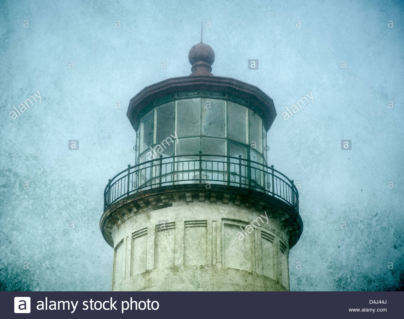 Lighthouse tower at Cape Disappointment State Park, Washington, USA - Stock Image