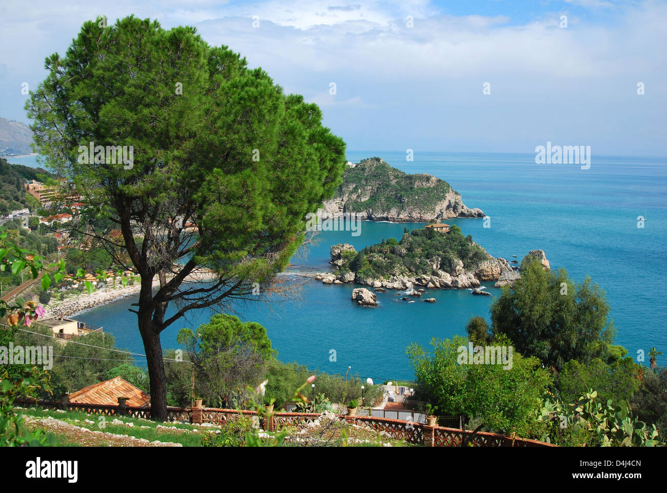 Isola Bella is a small island near Taormina, Sicily, southern Italy. - Stock Image