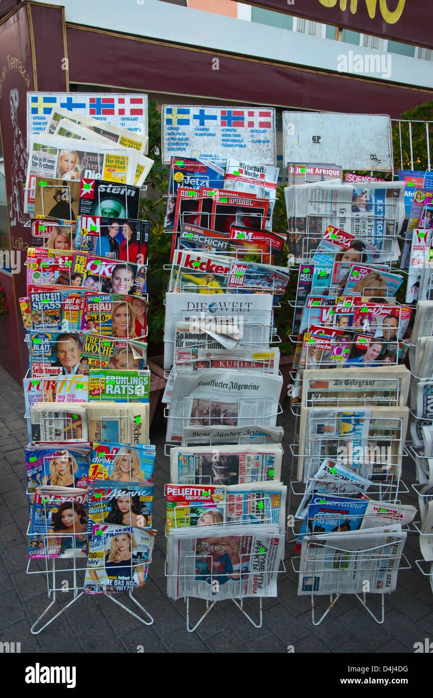 Magazines in many languages Parque Santa Catalina square Las Palmas city Gran Canaria island the Canary Islands - Stock Image