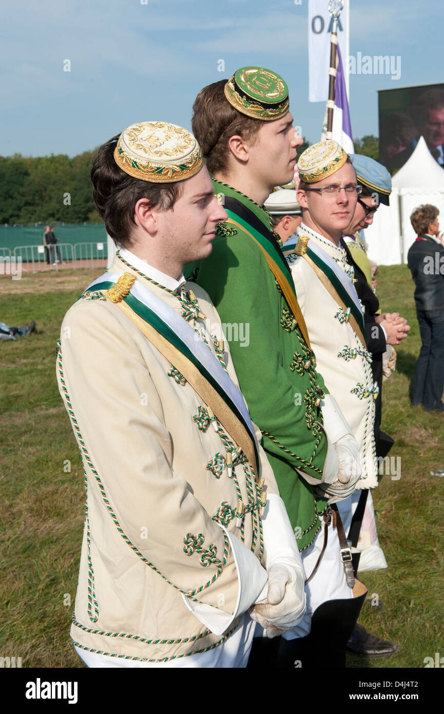 Freiburg, Germany, members of a fraternity during the Mass of Pope Benedict XVI. - Stock Image