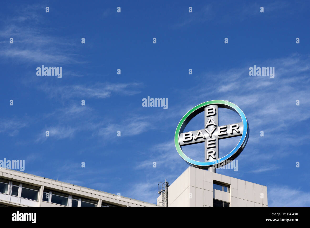 Berlin, Germany, the corporate logo of Bayer AG - Stock Image