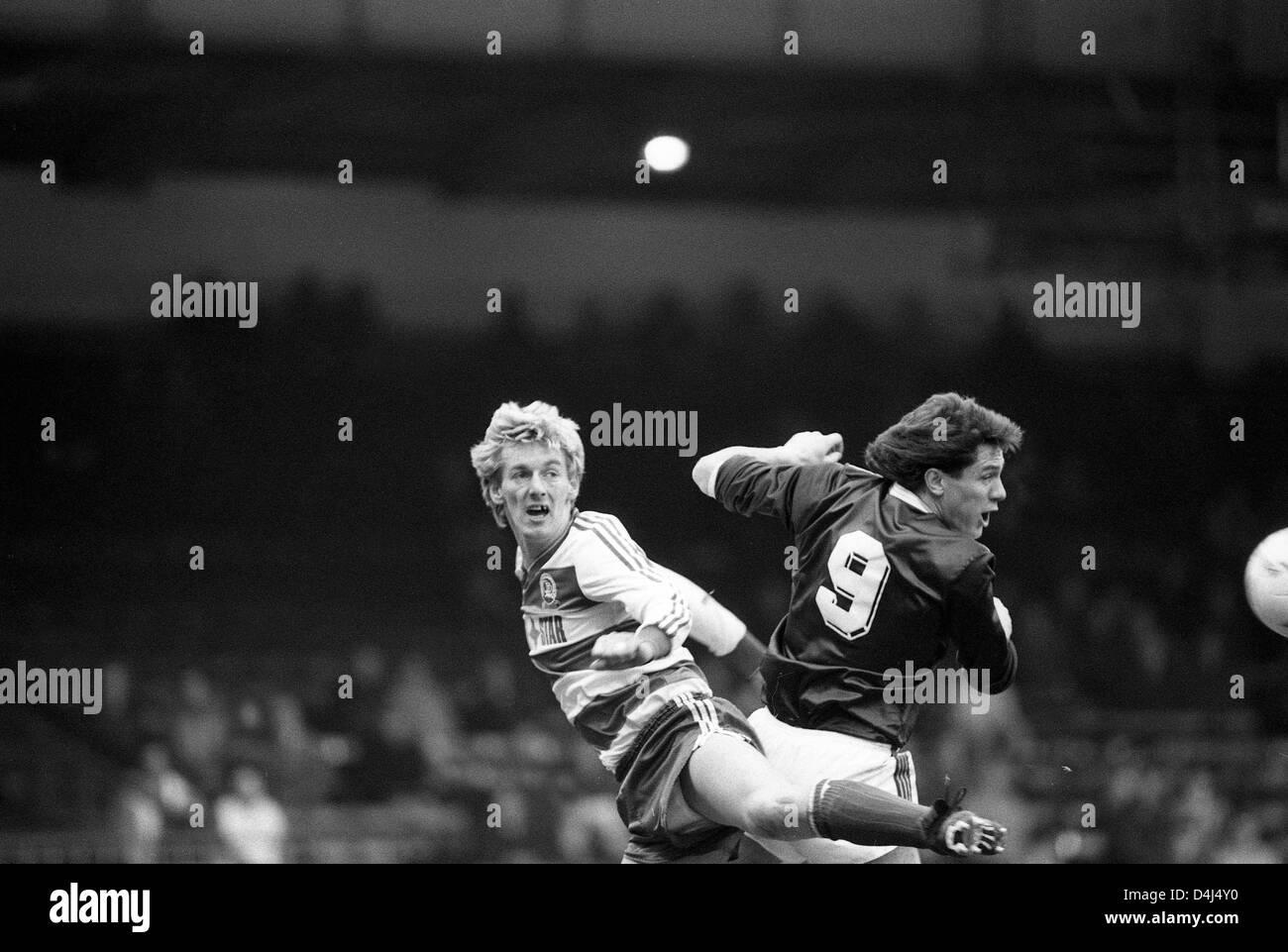 Alan McDonald and Simon Stainrod Aston Villa v Queens Park Rangers at Villa Park 7/2/87 - Stock Image