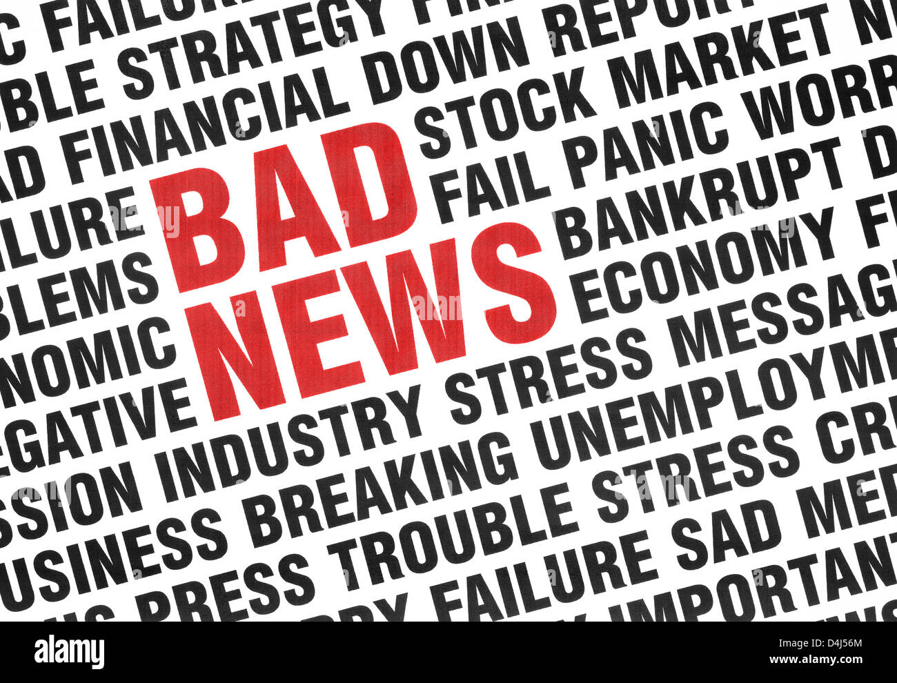 Conceptual print of Bad News with angled uppercase text expressing failure, crisis, panic, fear and economy depression. - Stock Image
