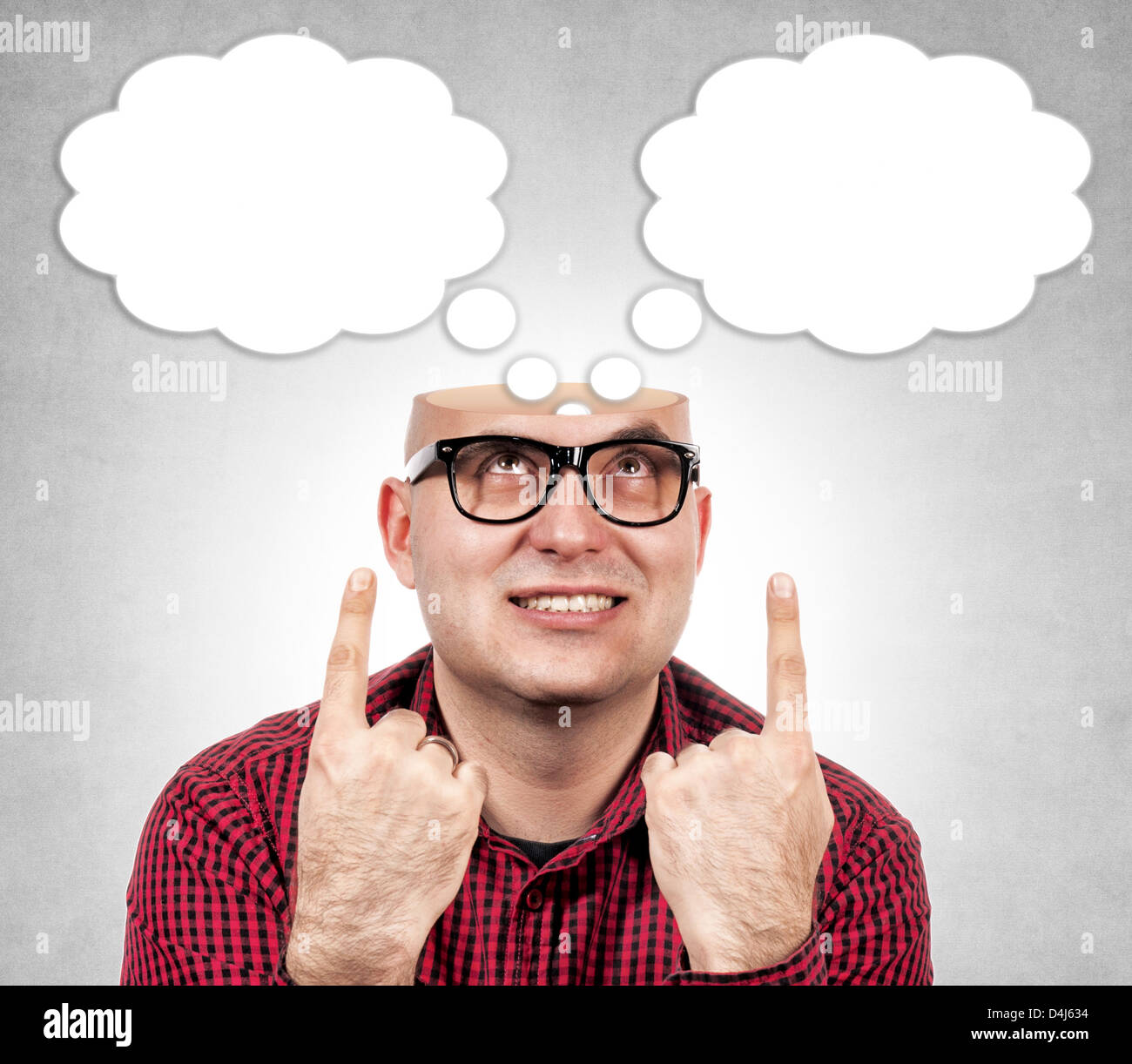 Funny man with the opened head - Stock Image
