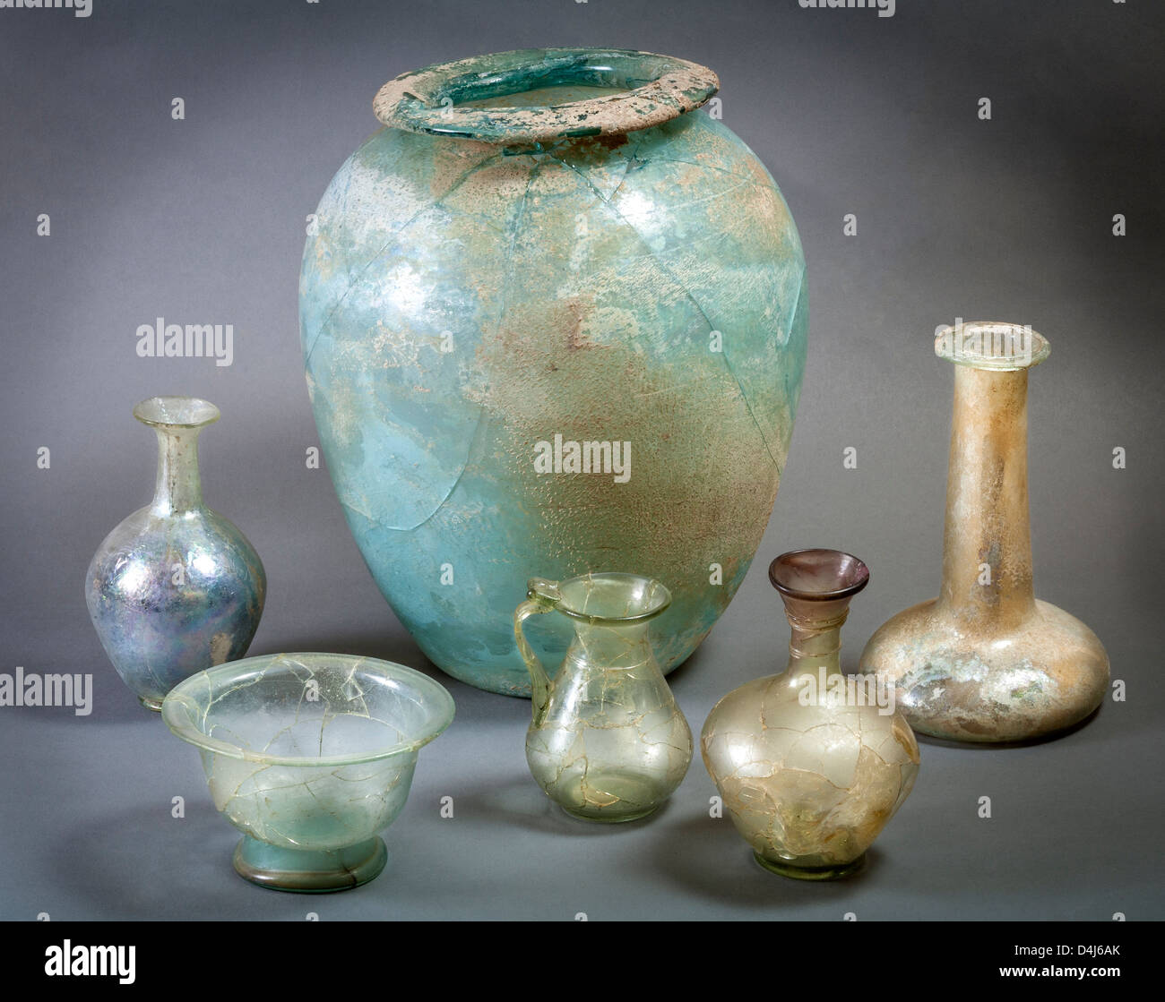 Archaeological artefact glassware from Roman Site of Munigua, Seville, Spain. - Stock Image
