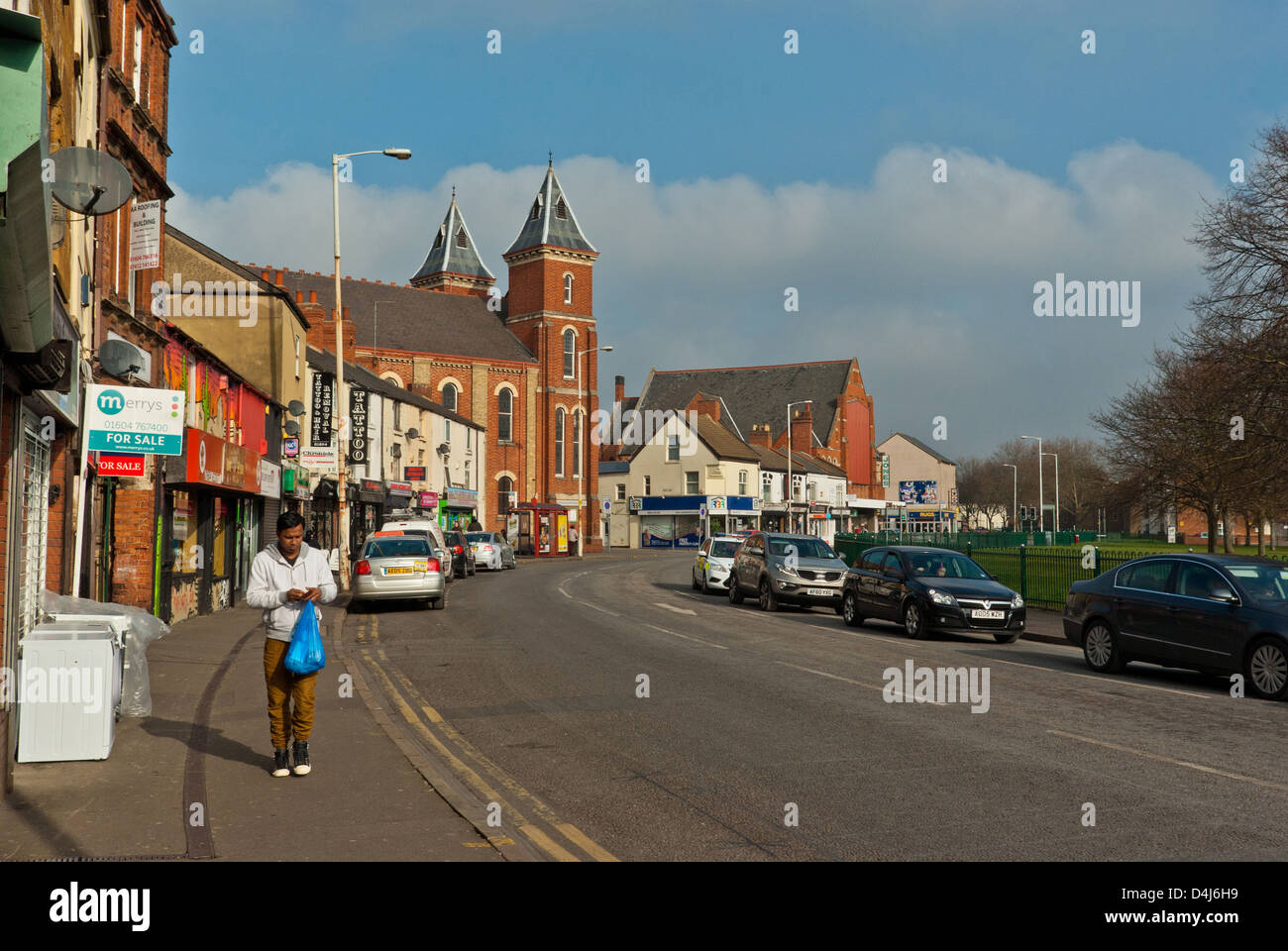 A view of Kettering Road, heading north out of Northampton Town Centre - Stock Image