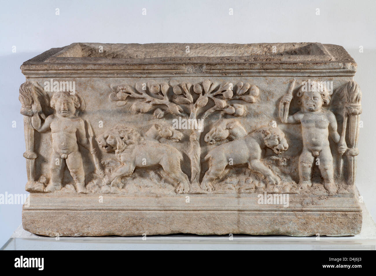 Archaeological artefact, marble sarcophagus from Roman Site of Munigua, Seville, Spain. - Stock Image