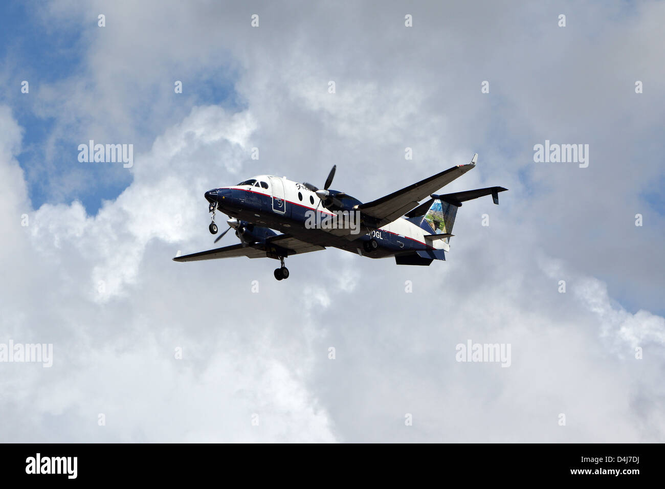 LOS ANGELES, CALIFORNIA, USA - MARCH 8, 2013 - Great Lakes Airlines Beech 1900D lands at Los Angeles Airport on - Stock Image