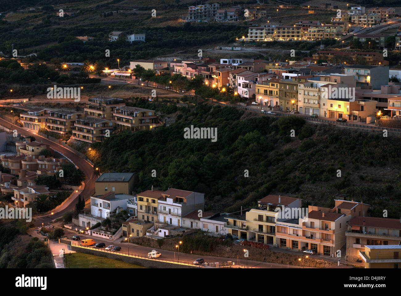Castelsardo, Italy, overlooking the neighboring community Sedini morning - Stock Image
