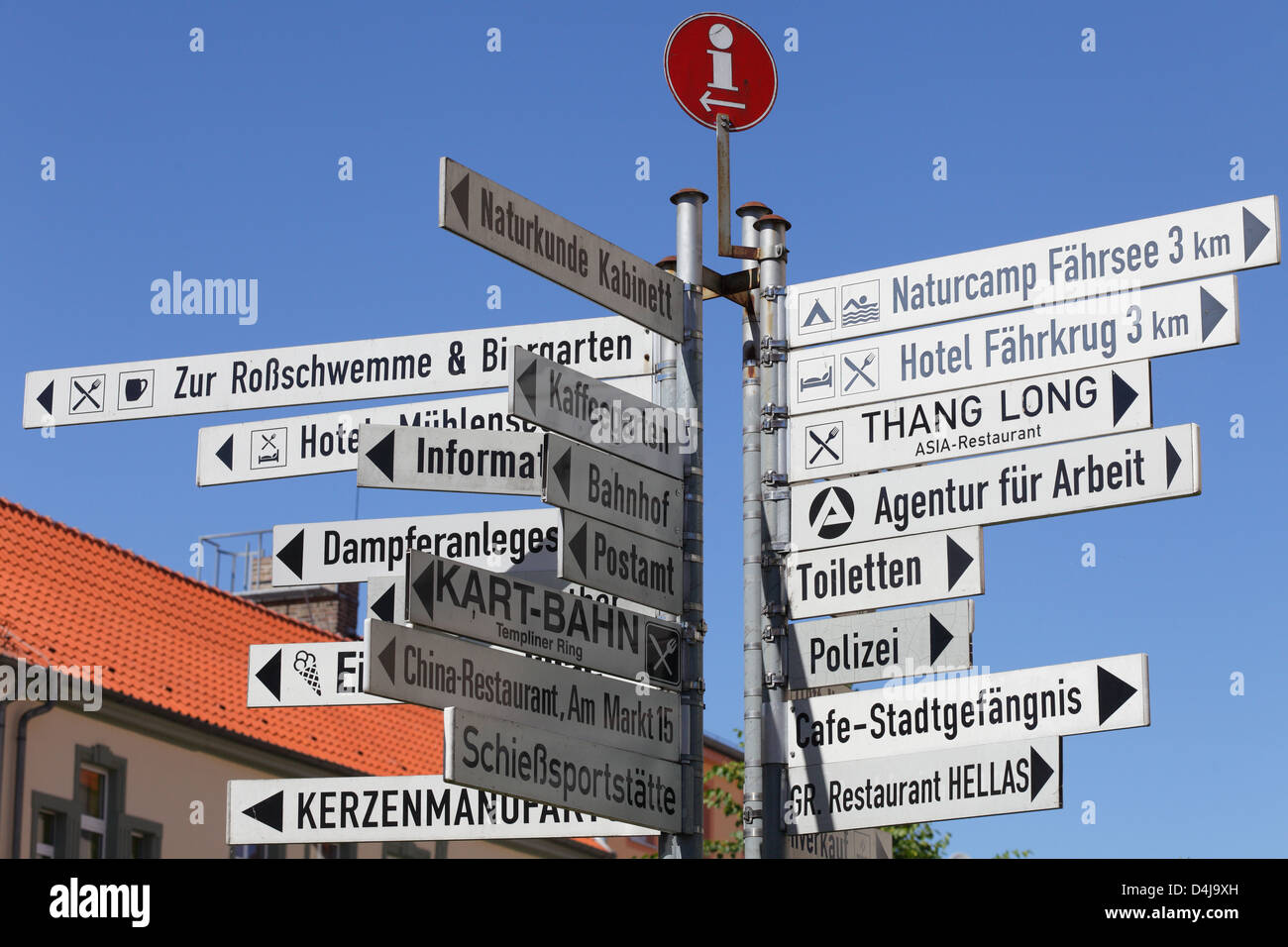 Templin, Germany, signs - Stock Image