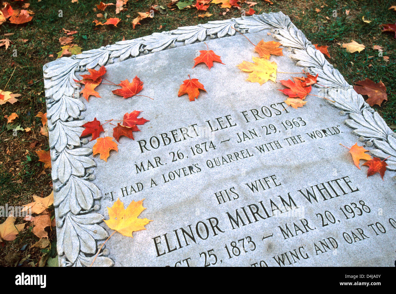 Elk280-1596 Vermont, Bennington, Old First Church, Old Burying Ground cemetary, Robert Frost's grave - Stock Image