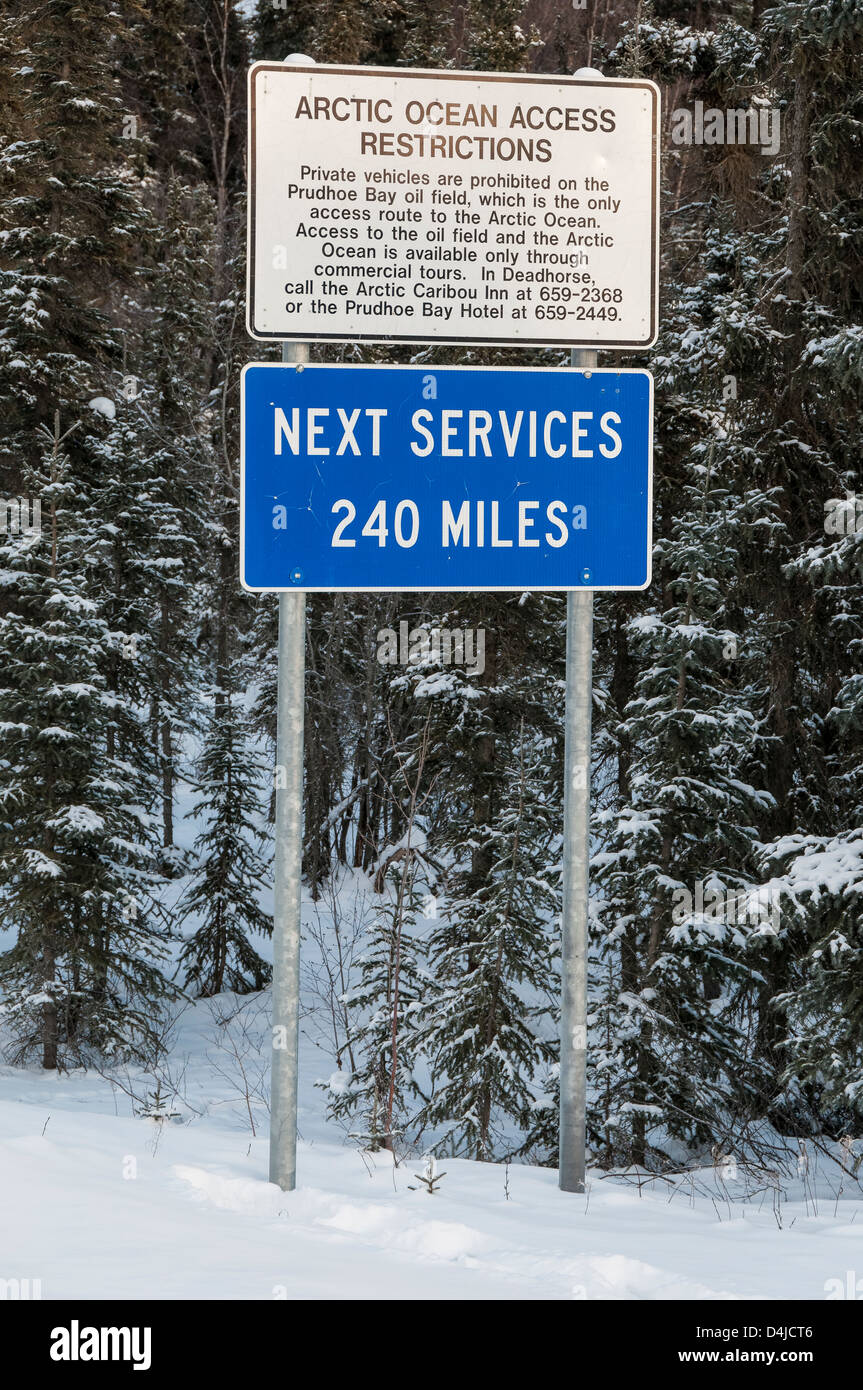 Next Services 240 Miles sign, Dalton Highway, North Slope Haul Road, Coldfoot, Alaska. - Stock Image