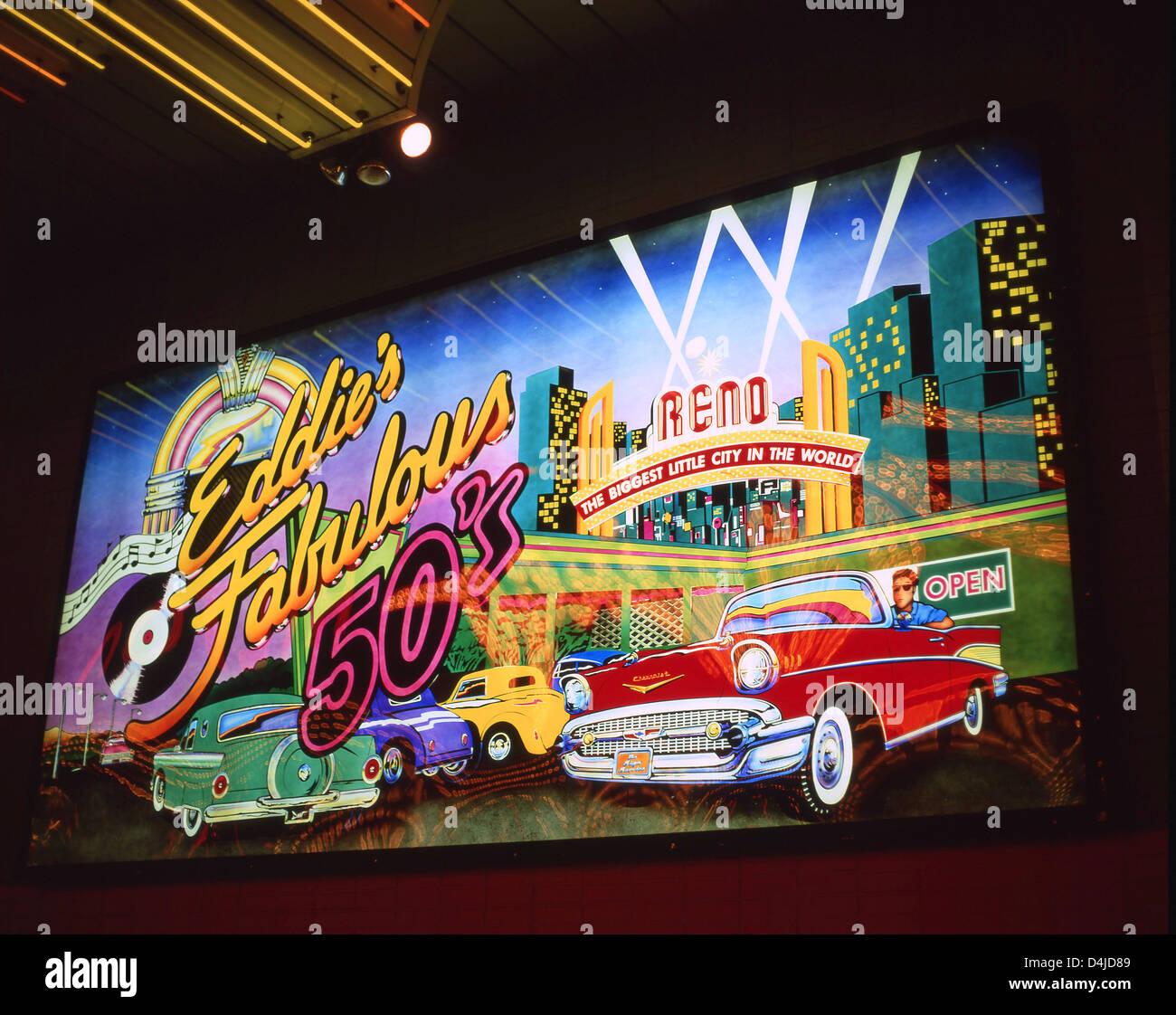 Eddie's Fabulous 50's Casino illuminated sign, Reno, Nevada, United States of America - Stock Image