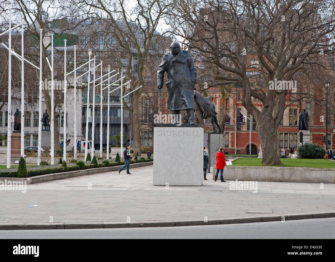 A statue of Sir Winston Churchill in Parliament Square London - Stock Image