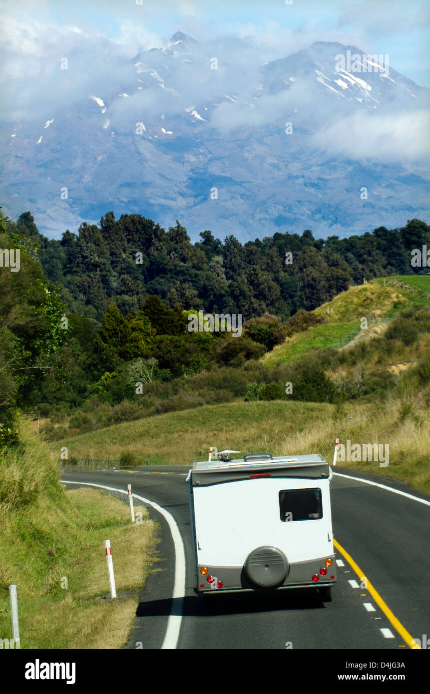 Auto-camper on the move, motorhome on holiday in Mt Ruapehu, Tongariro National Park. - Stock Image