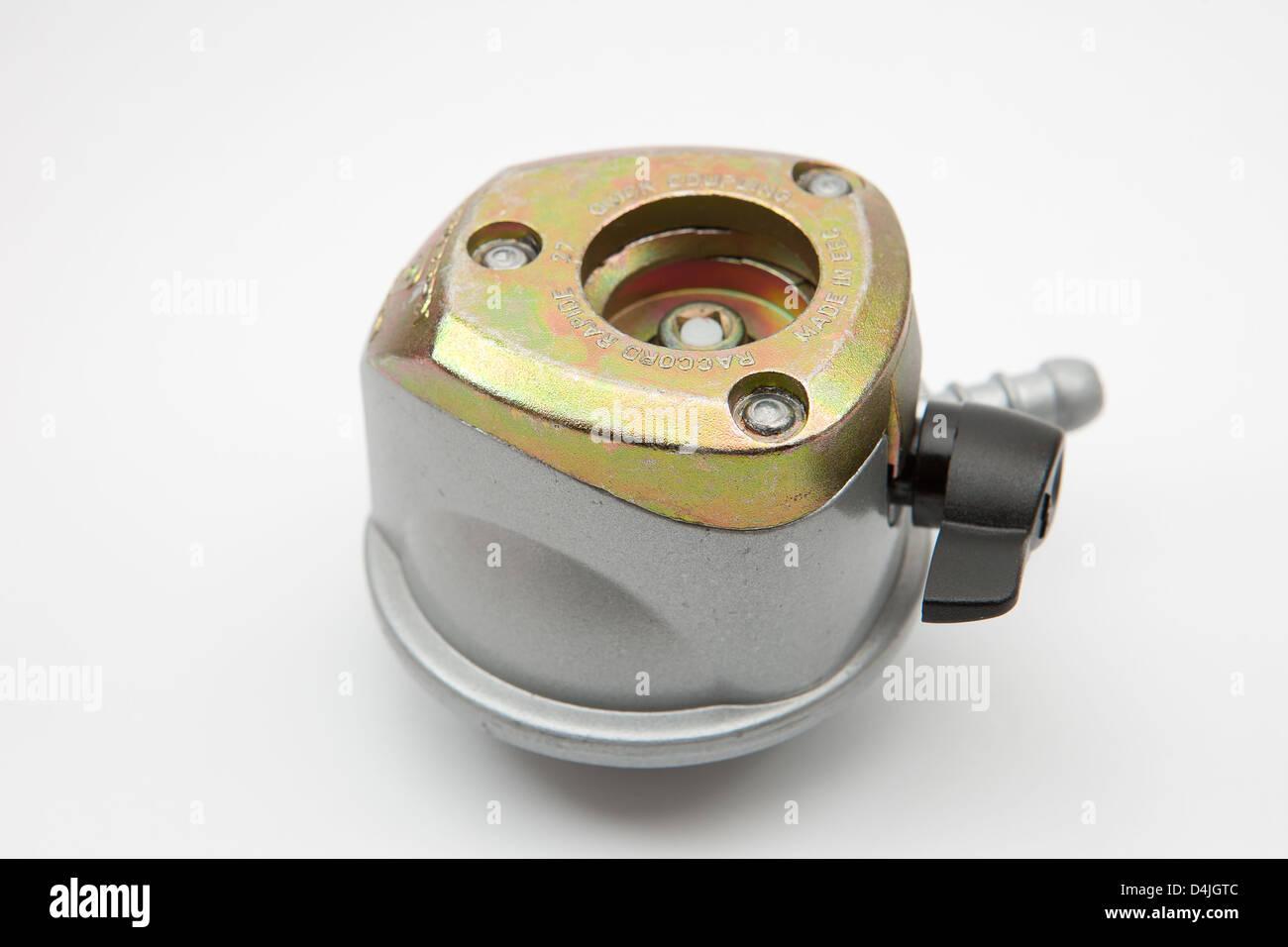 Propane gas regulator 37mbar 27mm en12864 quick-on - Stock Image