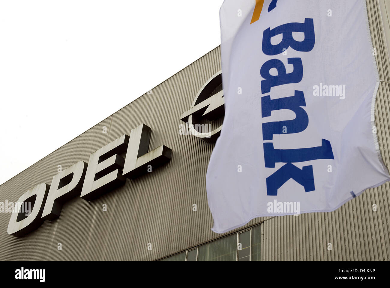 The banner of Opel bank GMAC seen in front of the Opel plant