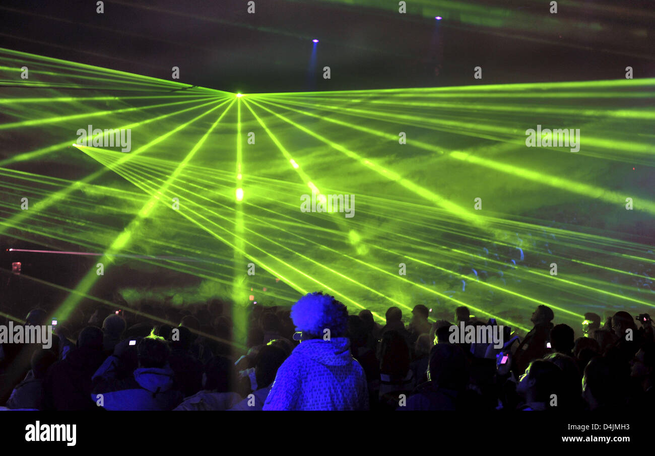 With a laser show organisers open the FIS Nordic World Ski Championships 2009 in Liberec, Czech Republic, 18 February - Stock Image