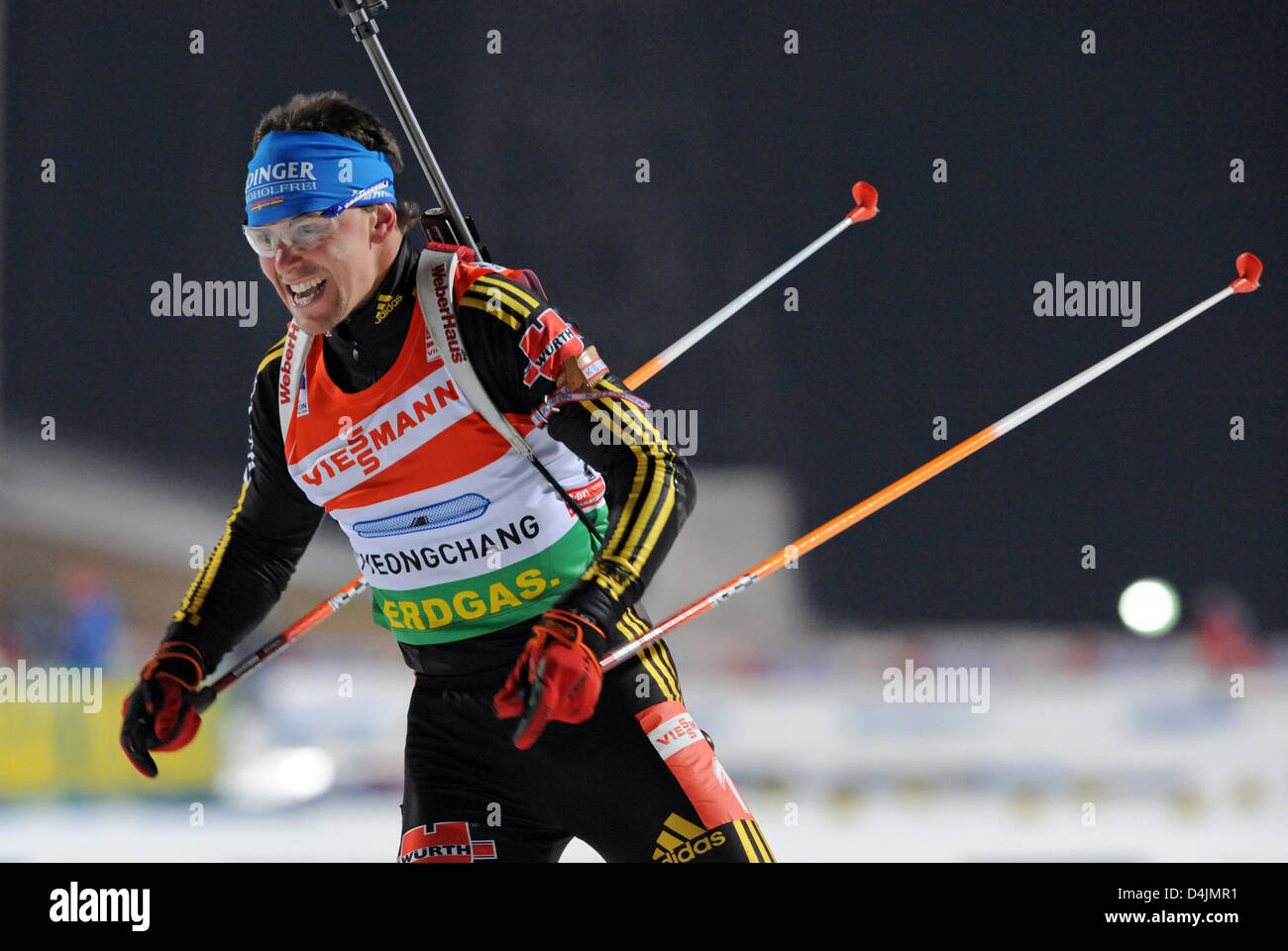 Michael Greis is pictured during the 4x6 kilometres mixed relay competition at the Biathlon World Championships - Stock Image