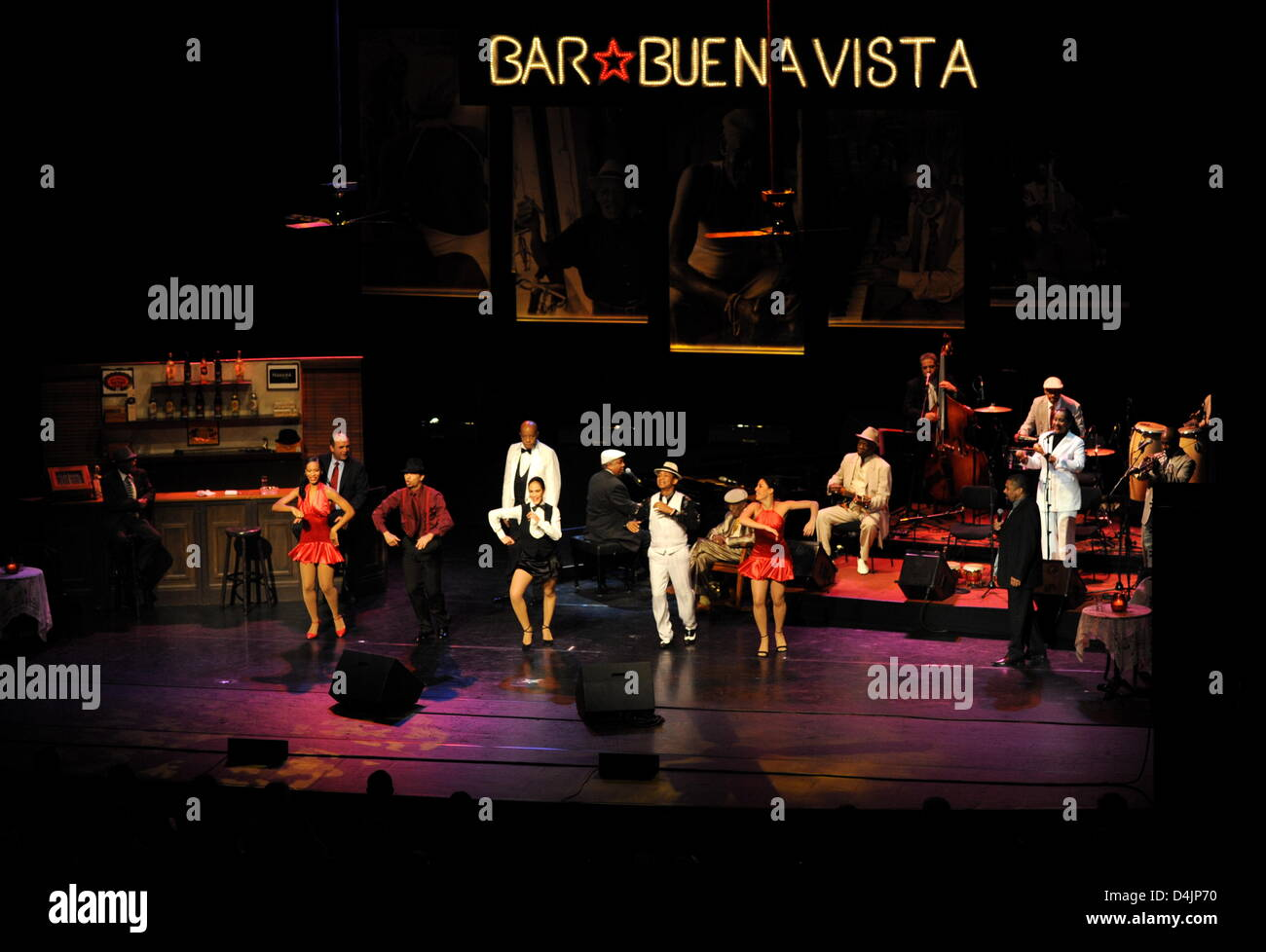 Dancers and musicians perform at the music show ?The Bar at Buena Vista? at Prinzregententheater in Munich, Germany, - Stock Image