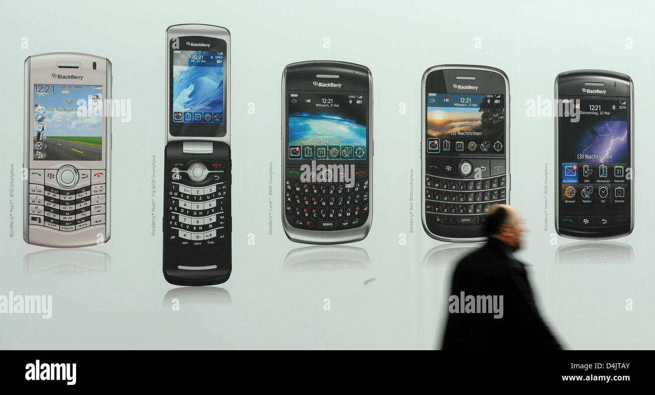 A Banner Advertises Mobile Phones Of The Company Blackberry At The Stock Photo Alamy