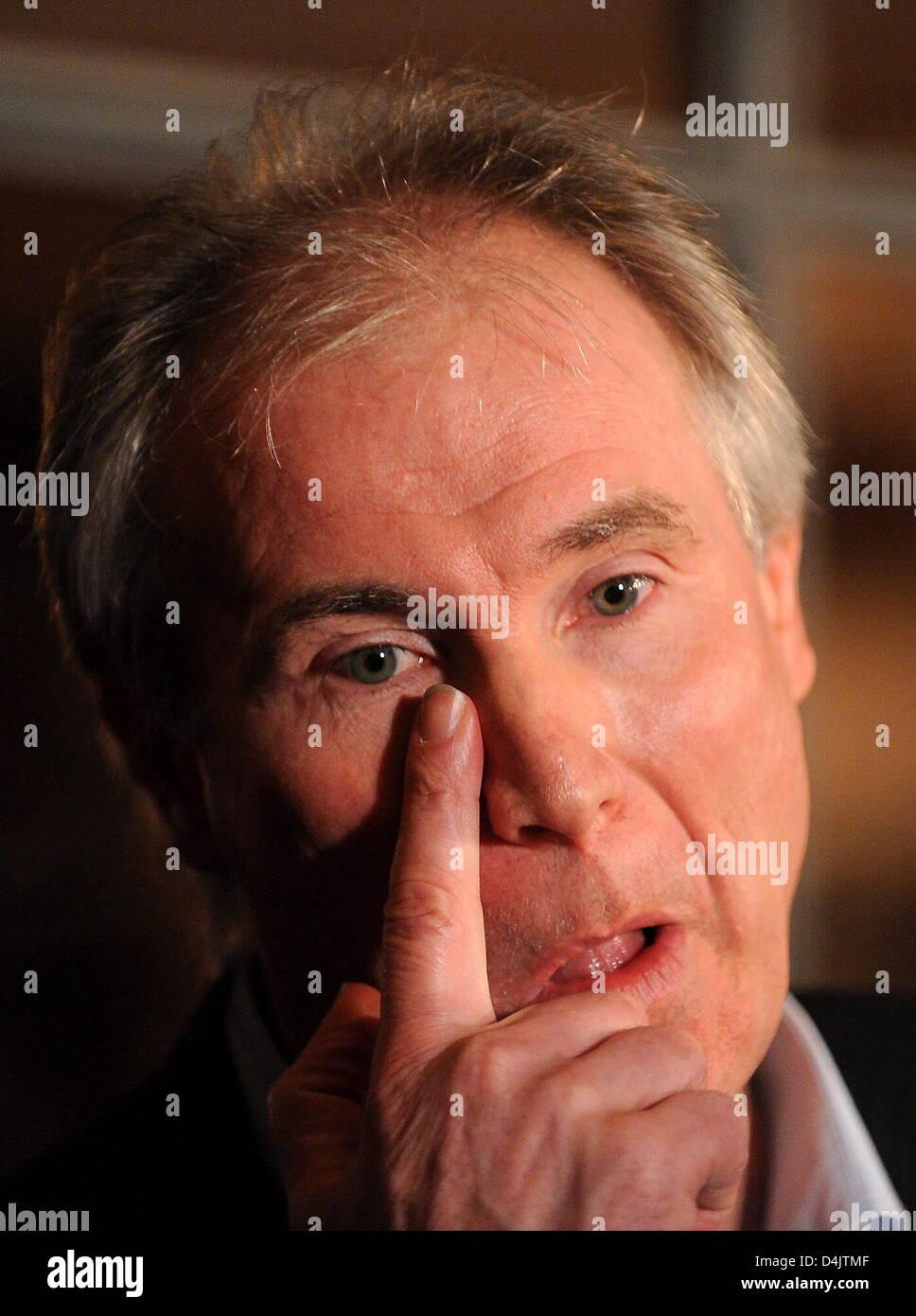 Uwe Schenker, managing director of German handball club THW Kiel, gestures during a crisis meeting of Handball league - Stock Image