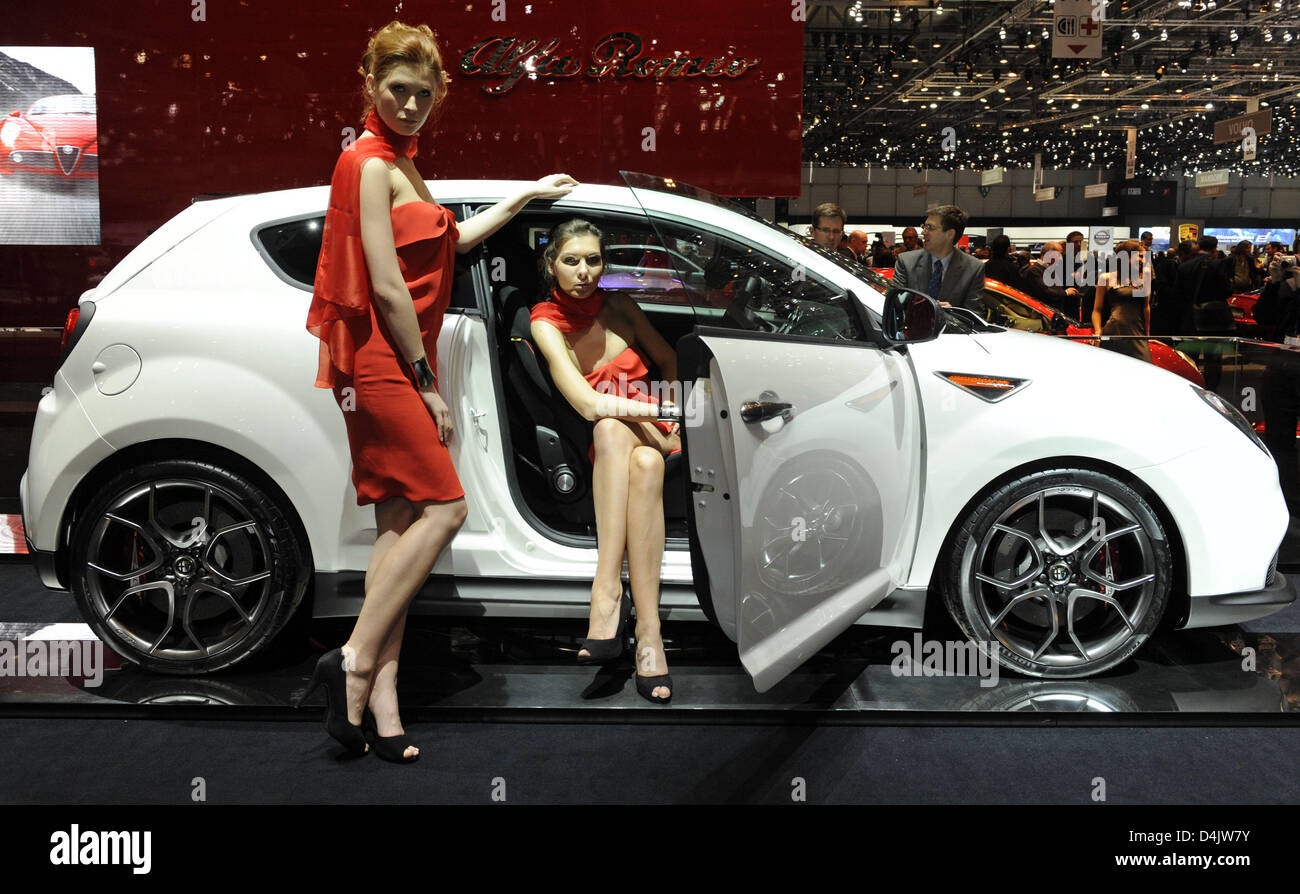 Models Are Photographed Next To An Alfa Romeo Mito Gta Concept On The Stock Photo Alamy