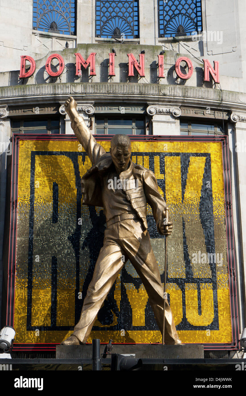 A Large Statue Of Freddie Mercury On The Outside Dominion Theatre Promoting Queen Musical We Will Rock You