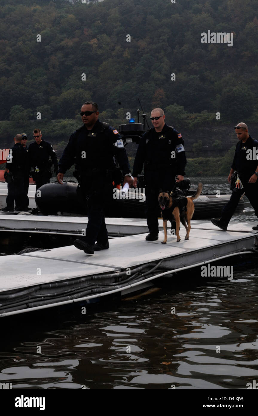 D.O.G disembarks after patrol Stock Photo