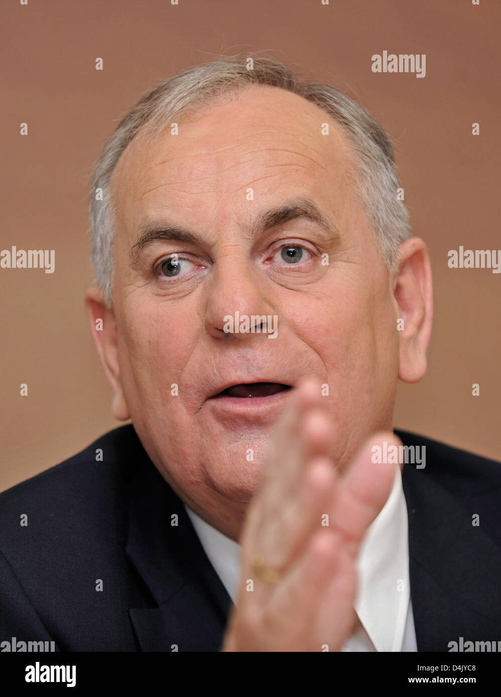 Wintershall Holding CEO Reinier Zwitserloot gestures at the group?s annual press conference in Berlin, Germany, - Stock Image