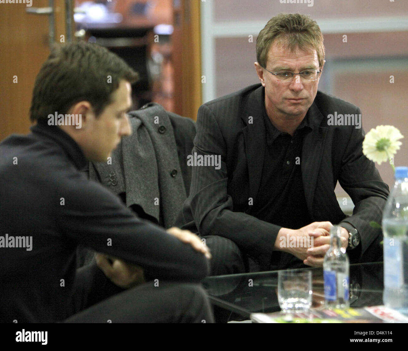 Head coach Ralf Rangnick (R) and player Christoph Janker (L) of Bundesliga club 1899 Hoffenheim seen ahead of the - Stock Image