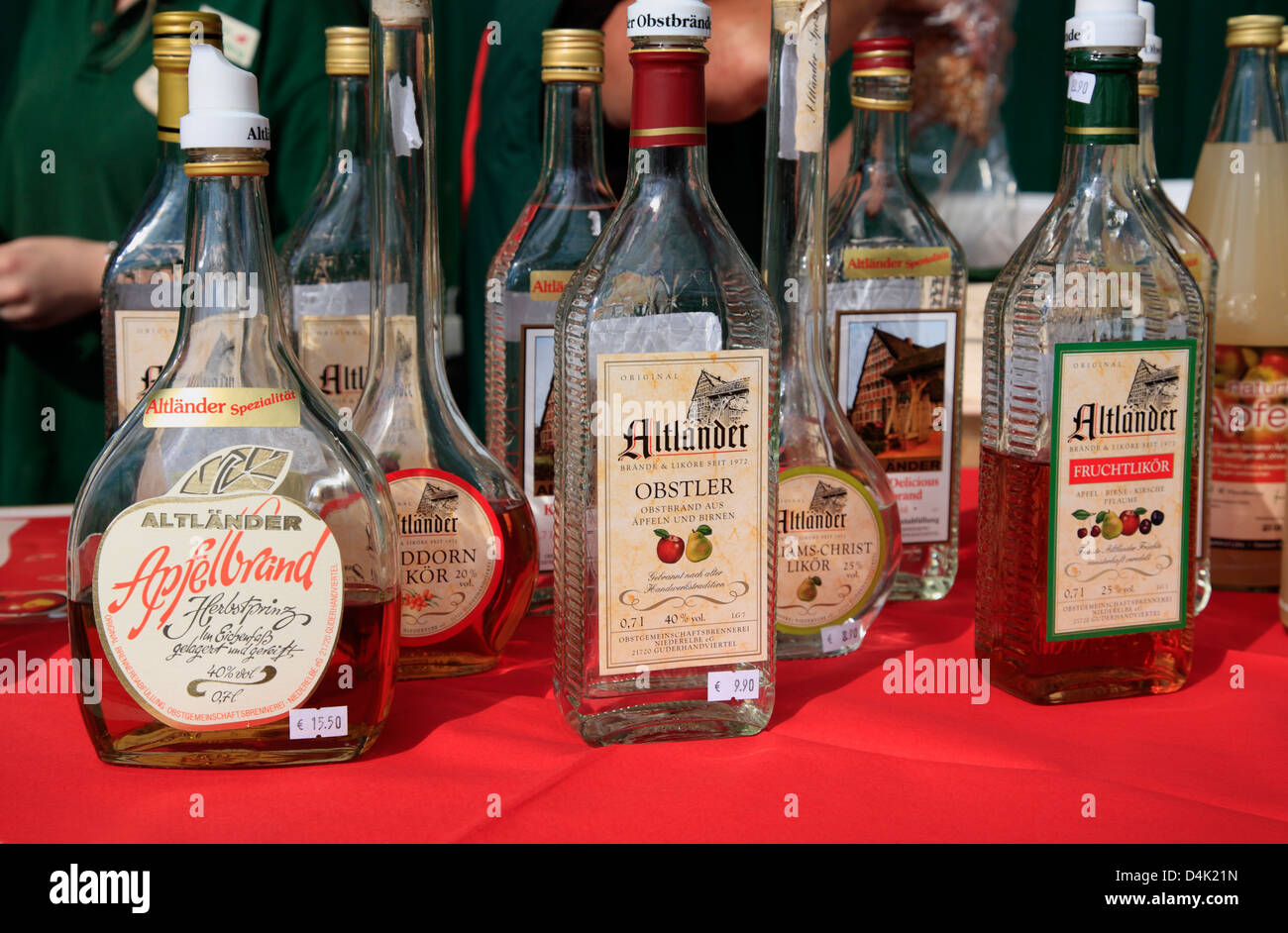 Altes Land, regional Alkoholic Products, Lower Saxony, Germany - Stock Image