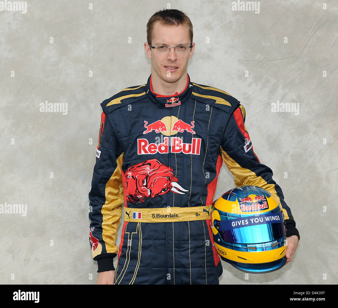 French Formula One driver Sebastien Bourdais of team Toro Rosso poses during a photo call at Albert Park Circuit Stock Photo