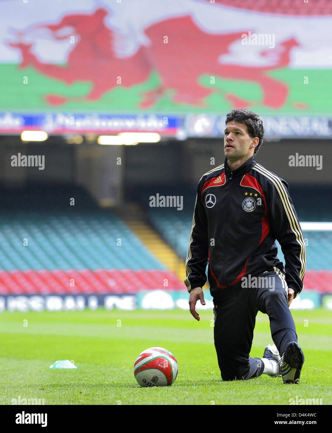 Germany?s team captain Michael Ballack seen during the squad?s final training session at ?Millennium Stadium? in Stock Photo