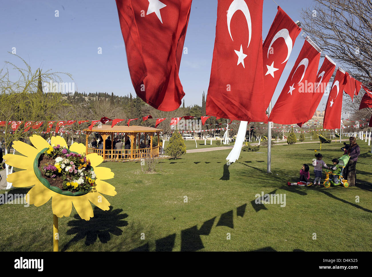 Turkish flags wave in the newly founded Ludwigshafen Park in Gaziantep, Turkey, 01 April 2009. The park is a memorial - Stock Image