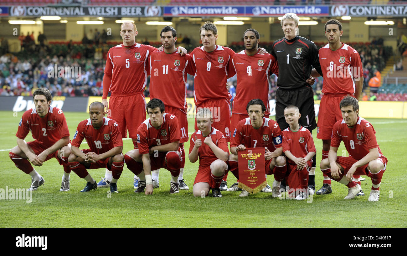 The Welsh national team (back row L-R) James Collins, Joseph Ledley, Samuel Vokes, Ashley Williams, Wayne Hennessey, Stock Photo
