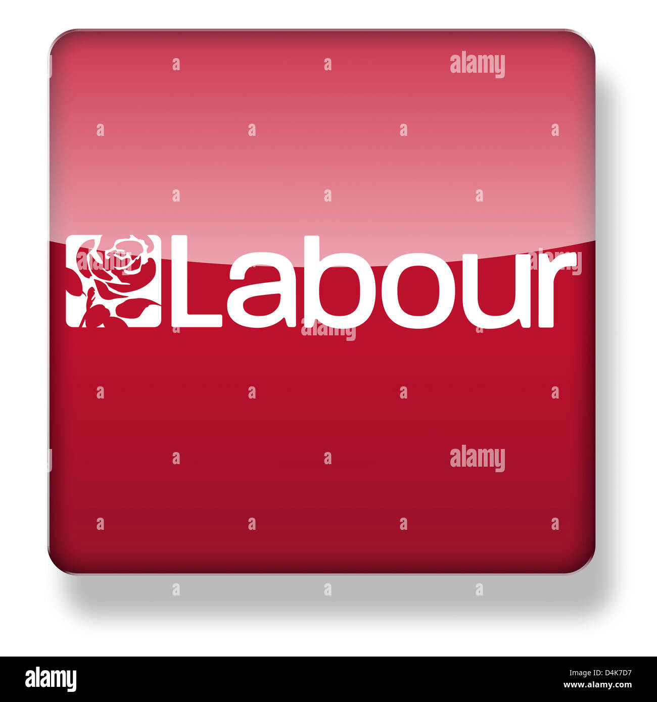 Labour Party logo as an app icon. Clipping path included. - Stock Image