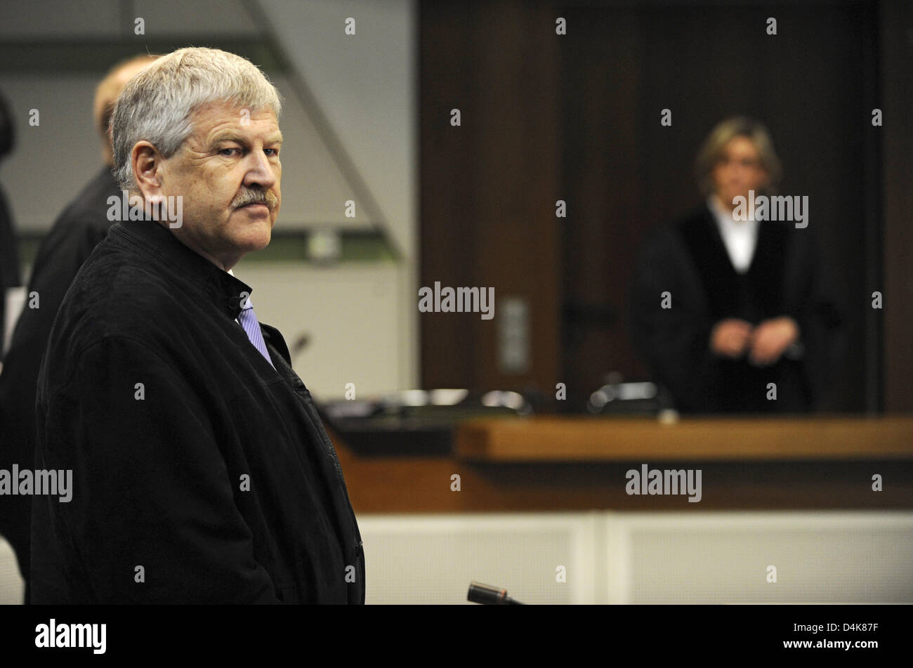 Udo Voigt, chairman of rightist extremist party NPD, pictured in court in Berlin, Germany, 07 April 2009. Voigt Stock Photo