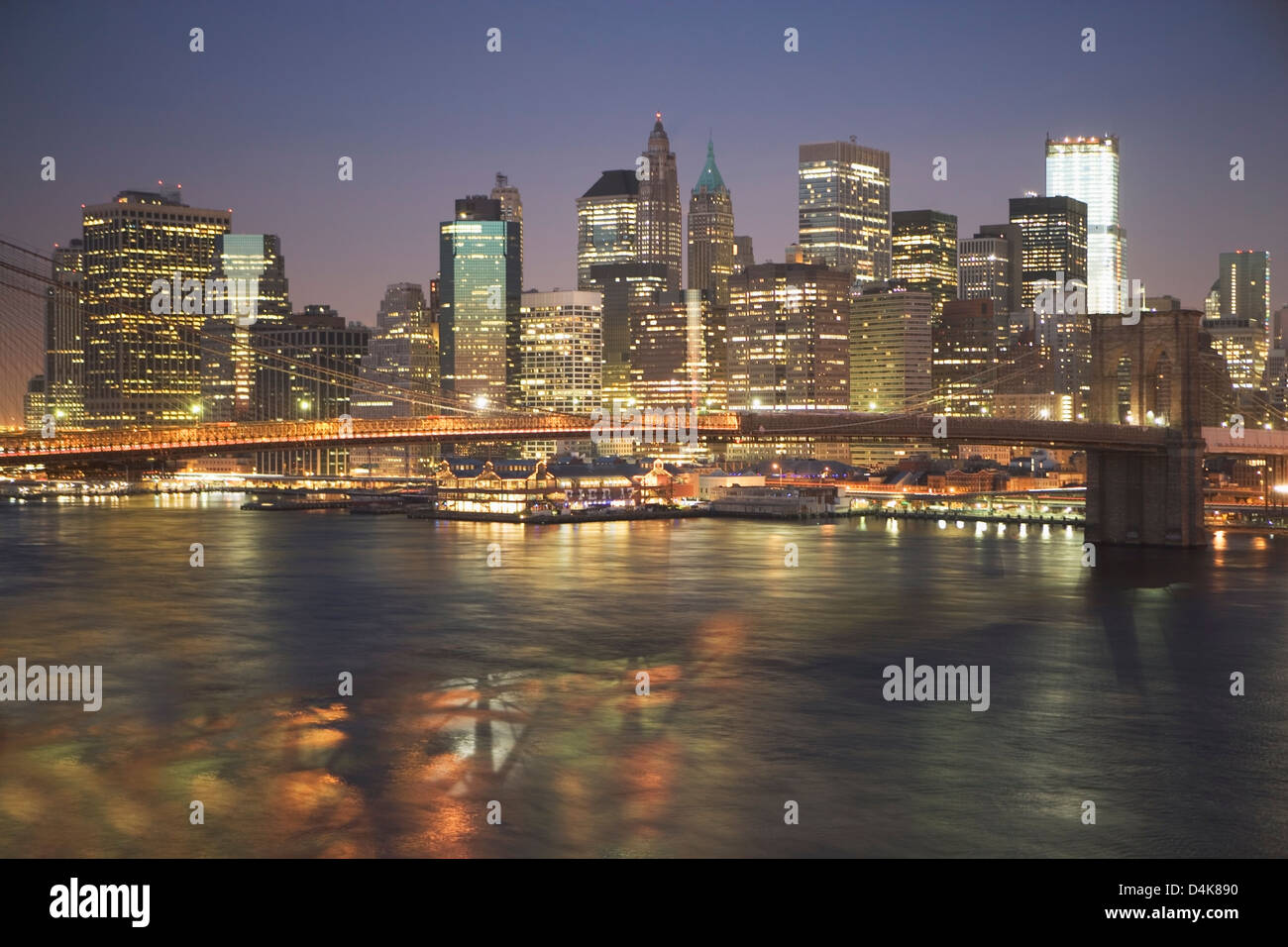 New York City lit up at night - Stock Image