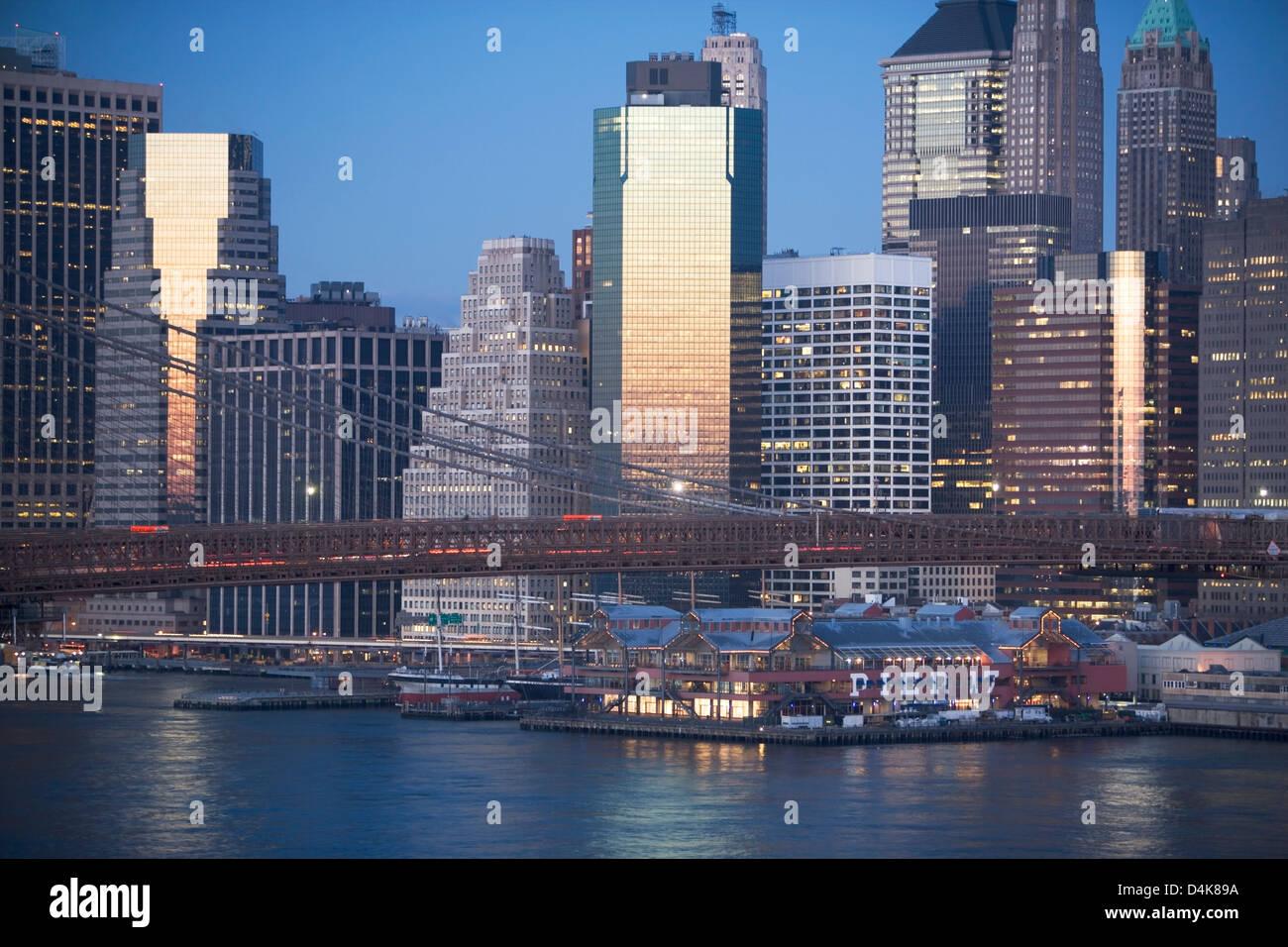 New York City lit up at night - Stock Image
