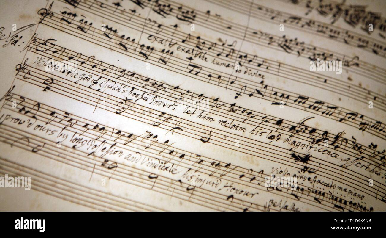 A facsimile from the ?Belshazzar? oratorio is on display in to the re-opened Handel House in Halle Saale, Germany, - Stock Image