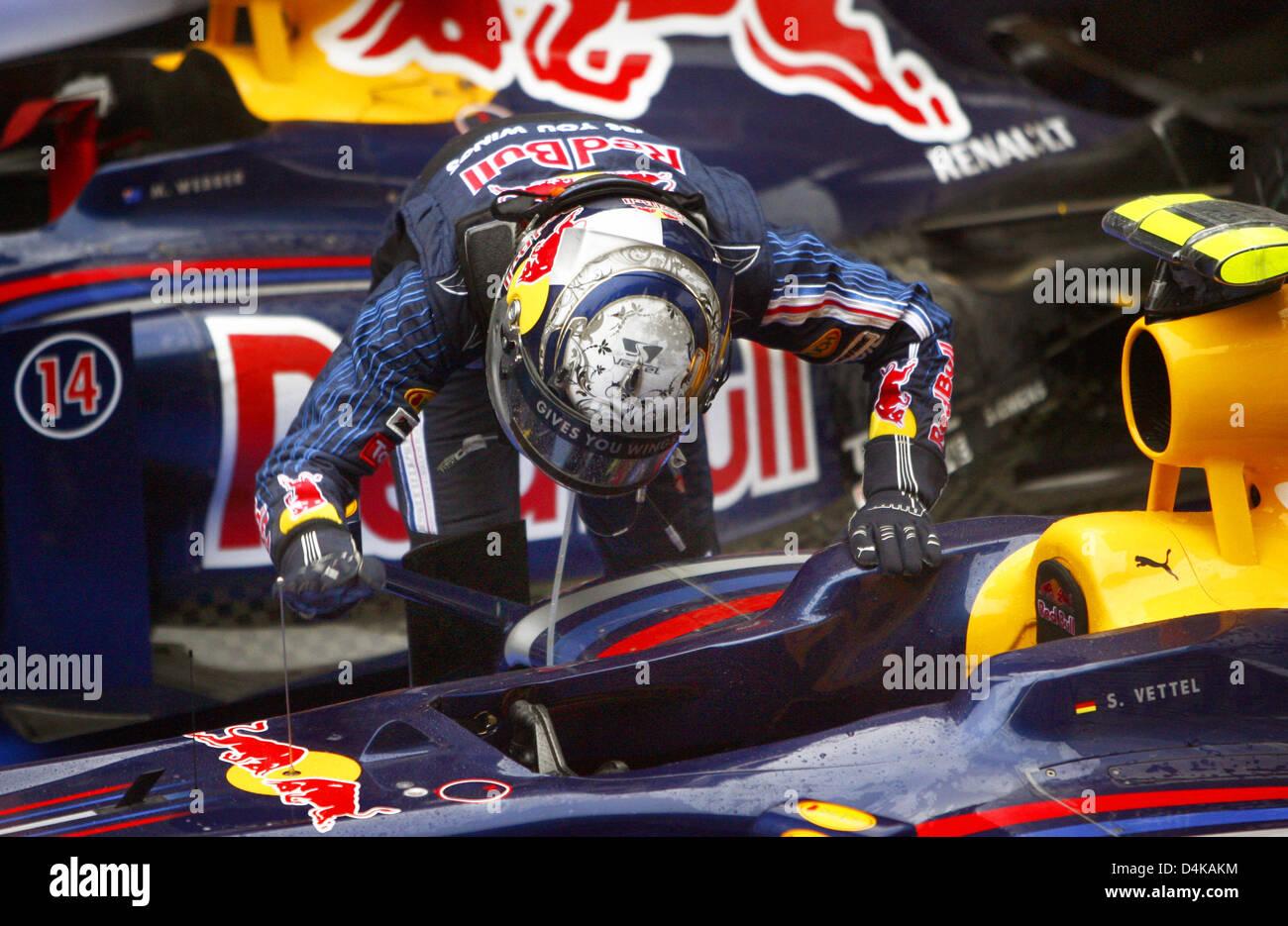 b732be68 German Formula One driver Sebastian Vettel of Red Bull Racing celebrates  winning the 2009 Formula 1 Chinese Grand Prix at Shanghai International  Circuit ...