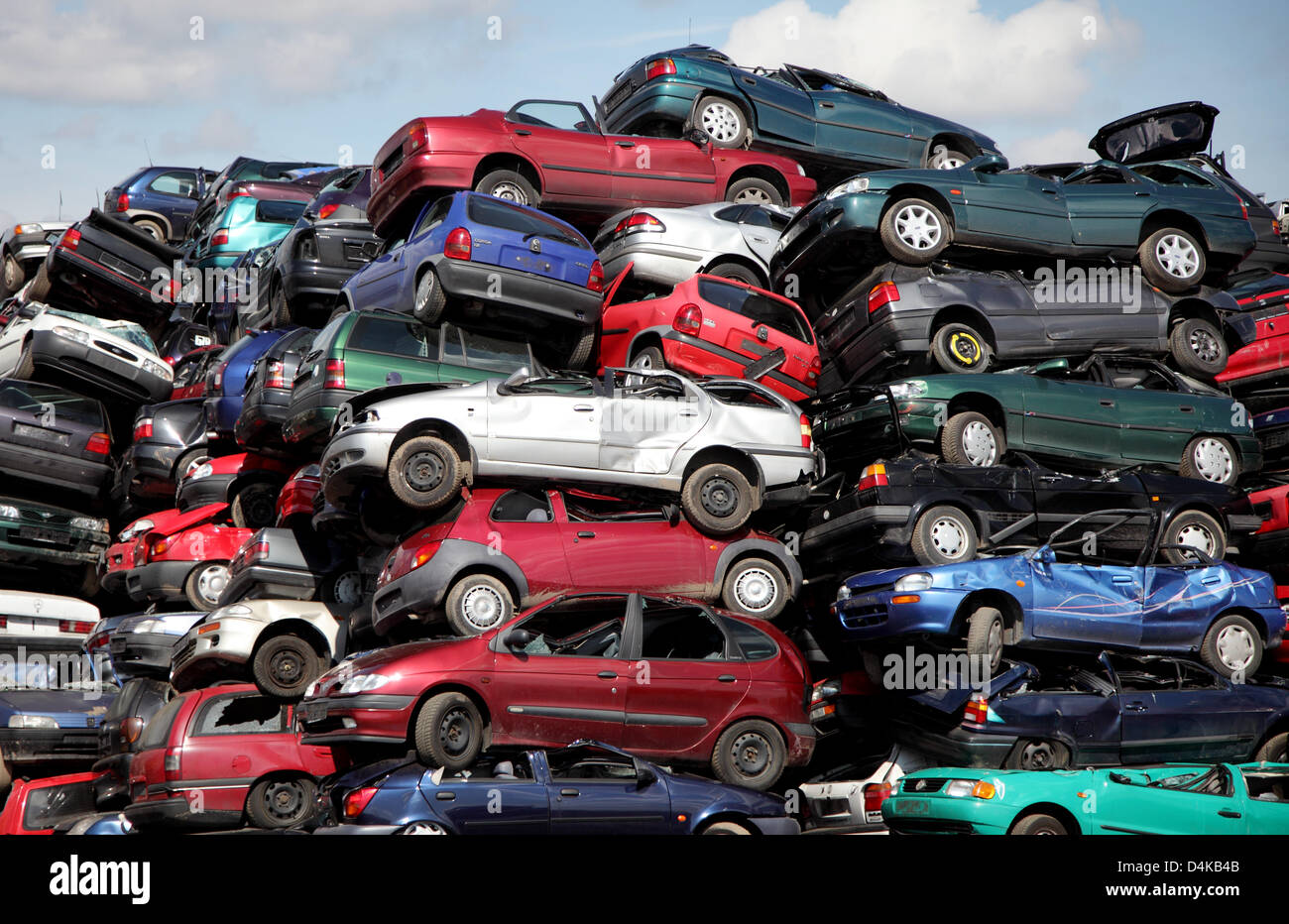 Disused cars pile at a car recycling centre near Leverkusen, Germany ...