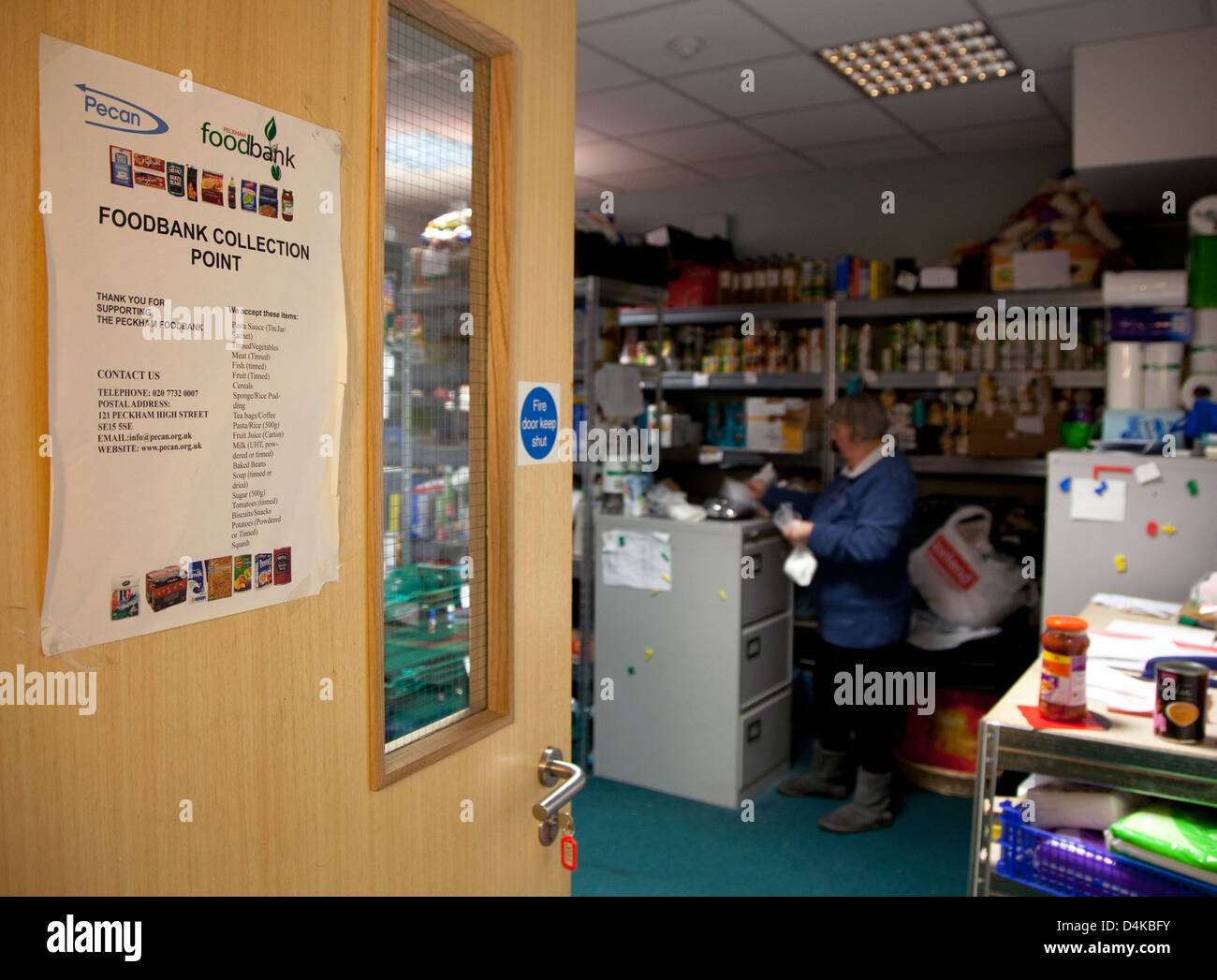 Food bank in Peckham, South London run by charity Trussell Trust - Stock Image