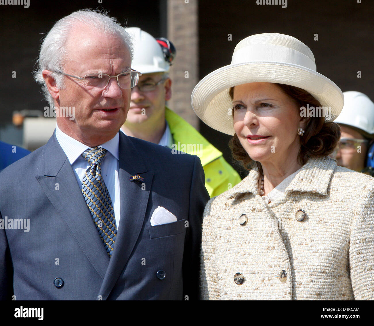 King Carl XVI Gustaf of Sweden (L) and Queen Silvia of Sweden (R) visit BIO MCN, a company which produces high quality - Stock Image
