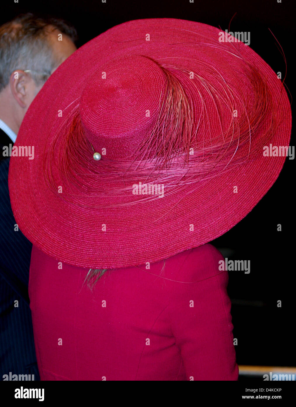 The picture shows the hat of Dutch Crown Princess Maxima while she christens the trailing suction hopper dredger - Stock Image