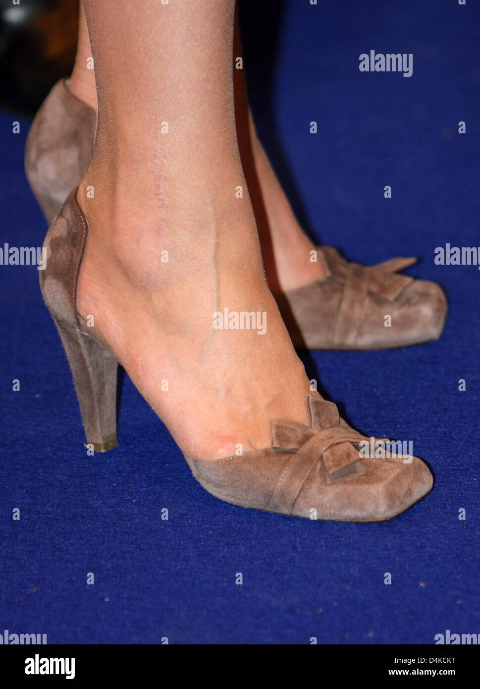 The picture shows the shoes of Dutch Crown Princess Maxima while she christens the trailing suction hopper dredger - Stock Image