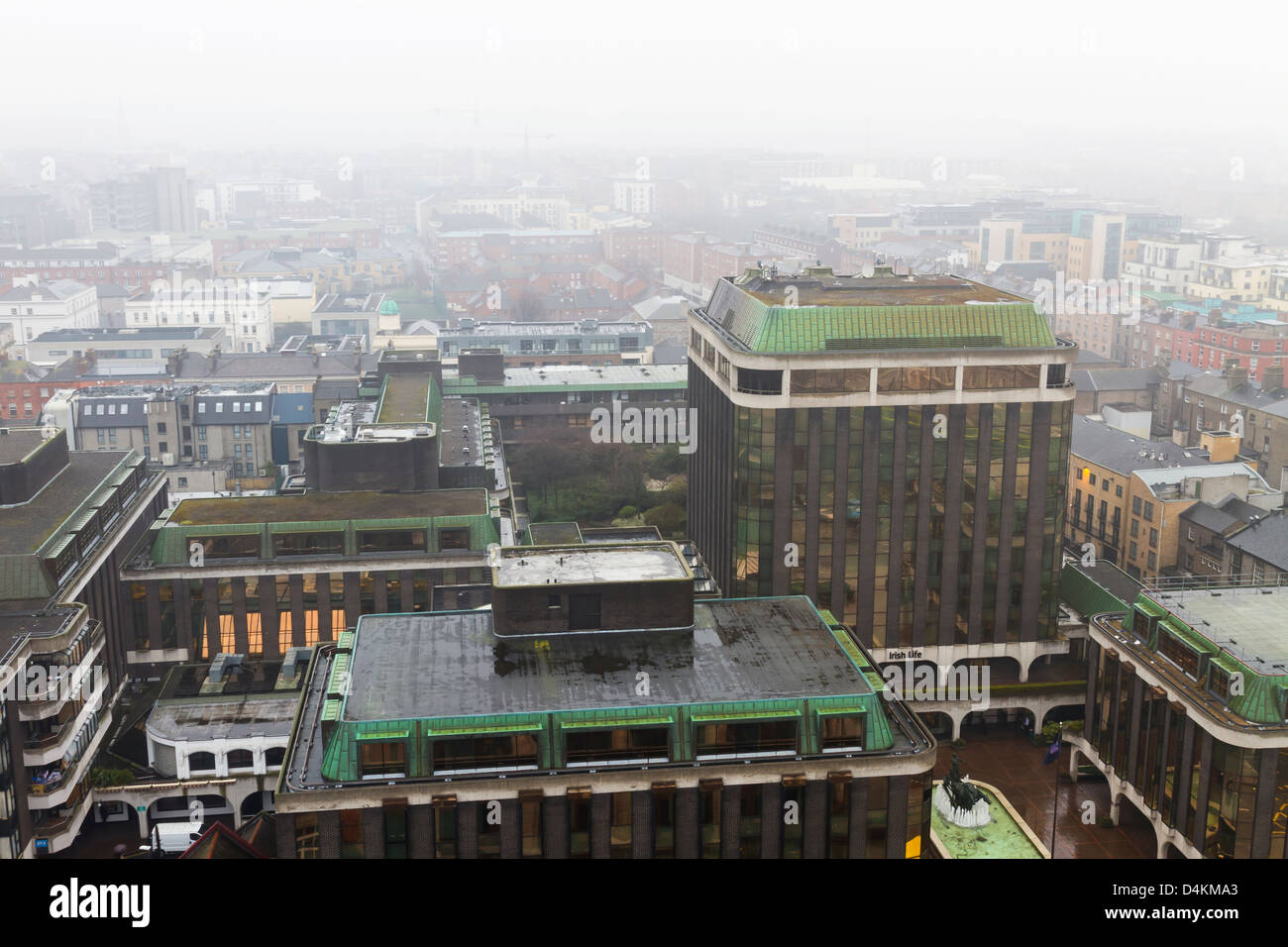Dublin, Ireland - March 07, 2013: Aerial shot of Dublin city centre on a typical fogy day. Stock Photo