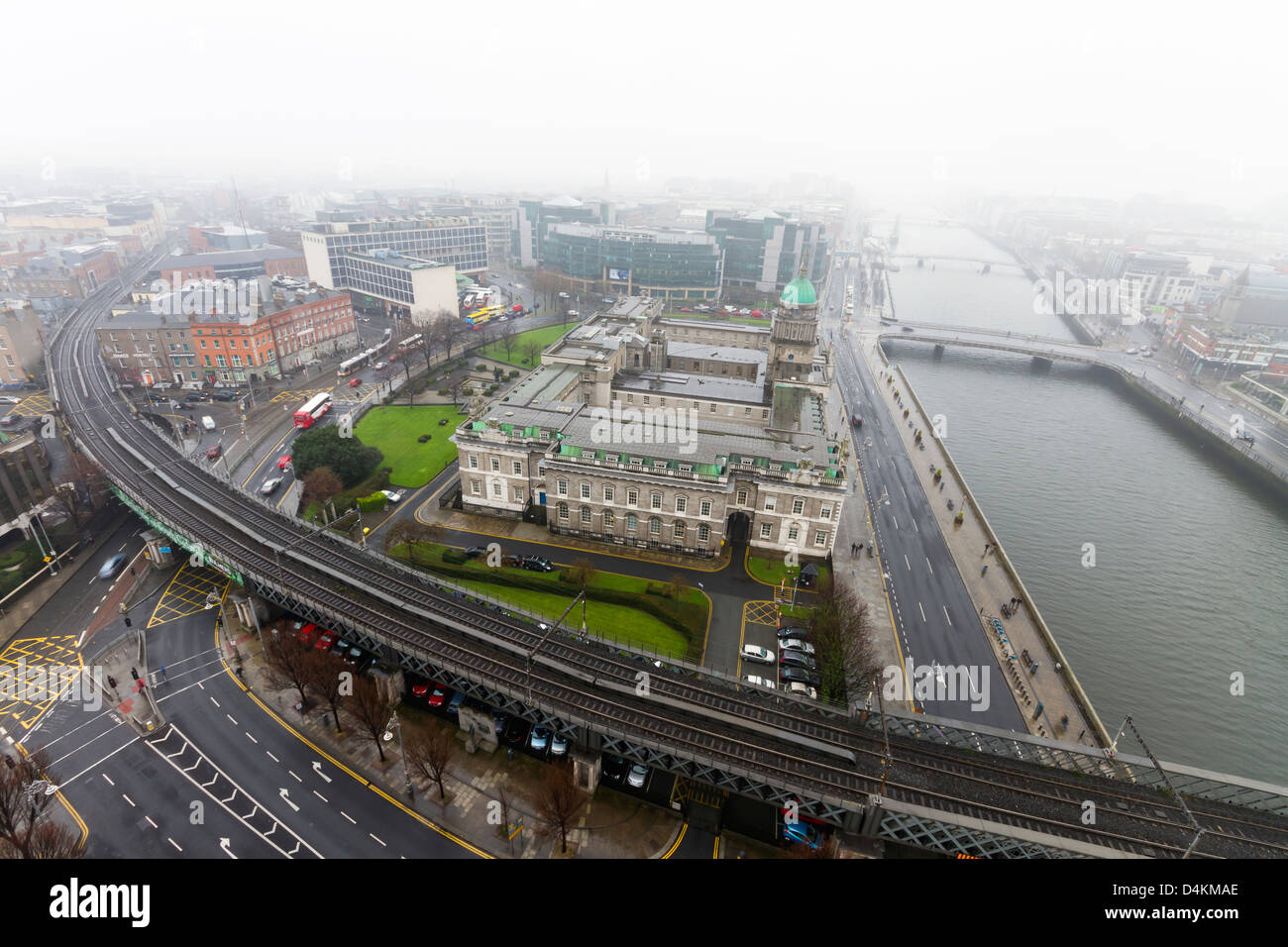 Dublin, Ireland - March 07, 2013: Aerial shot of Dublin city centre on a typical fogy day. - Stock Image